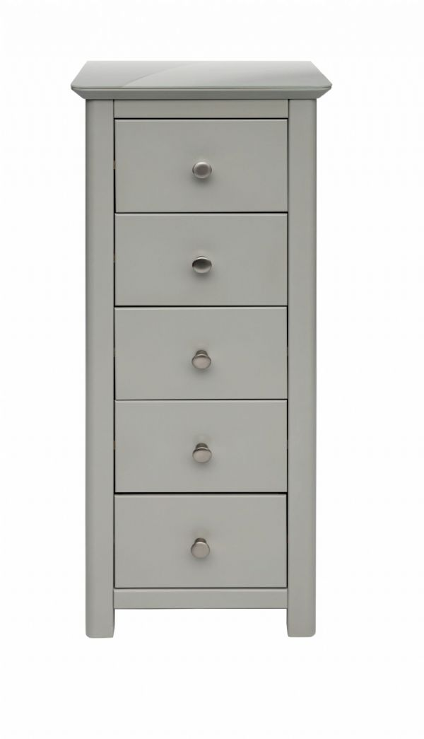 Elgin Grey and Glass 5 Drawer Narrow Chest | Tall 5 drawer narrow chest with grey painted finish and glass top.